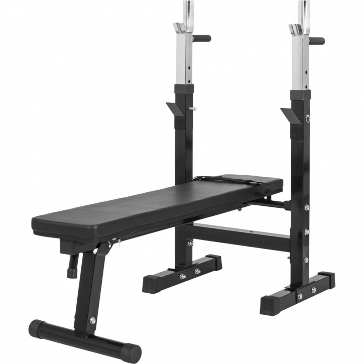 Weight Bench with Adjustable Barbell Rack - Black