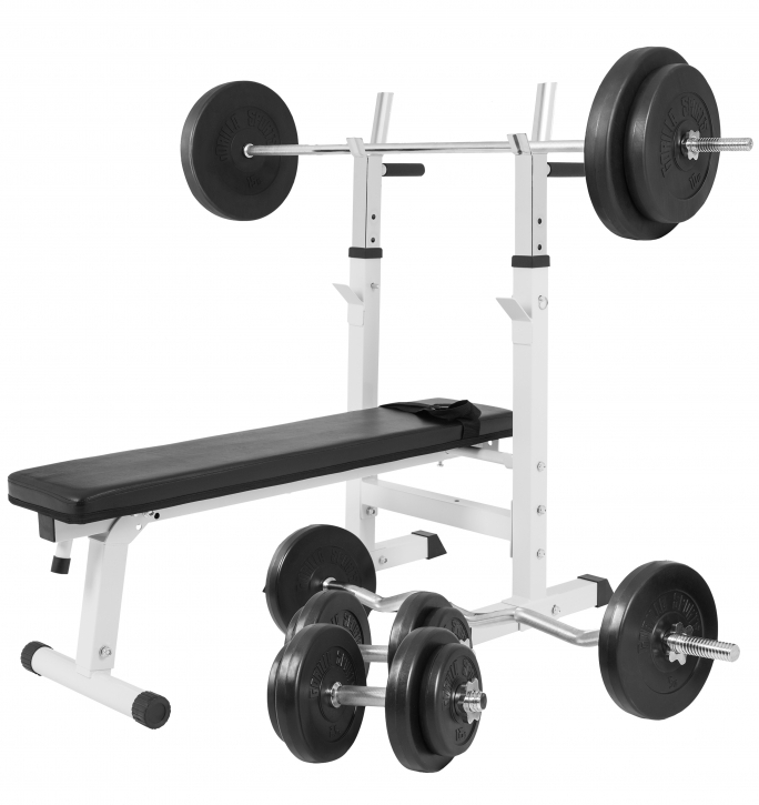 Adjustable Weight Bench with 100KG Barbell/Dumbbell Set - White